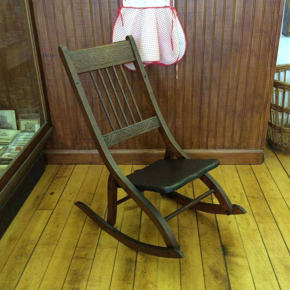 C. 1890-1910 Child's Oak Folding Press-Back Rocking Chair w/Old Repair   $85.00