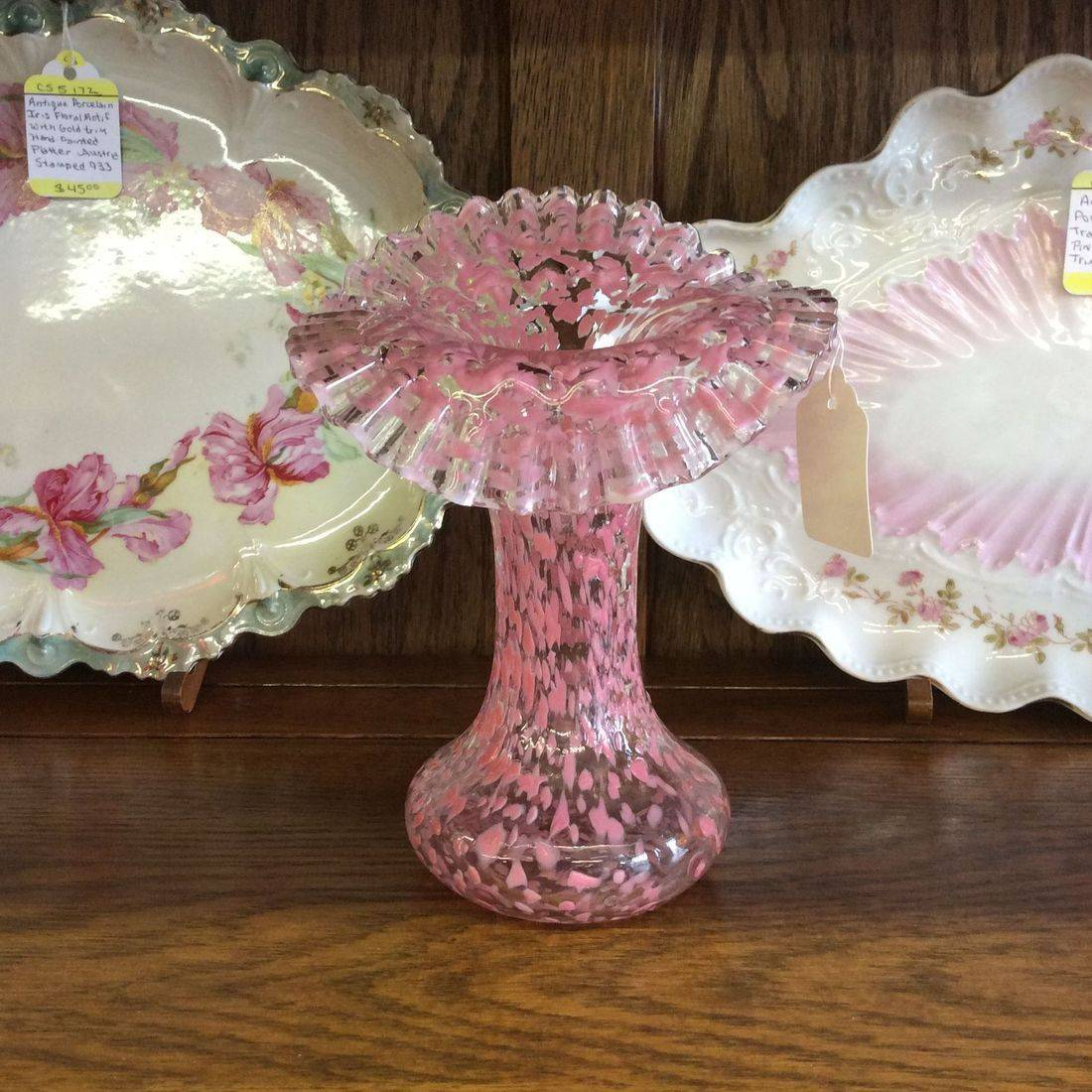"Early 1900's Jefferson Glass Co. Pink Splatter Art Glass Vase 6-1/2""H x 5""W.  $45.00"