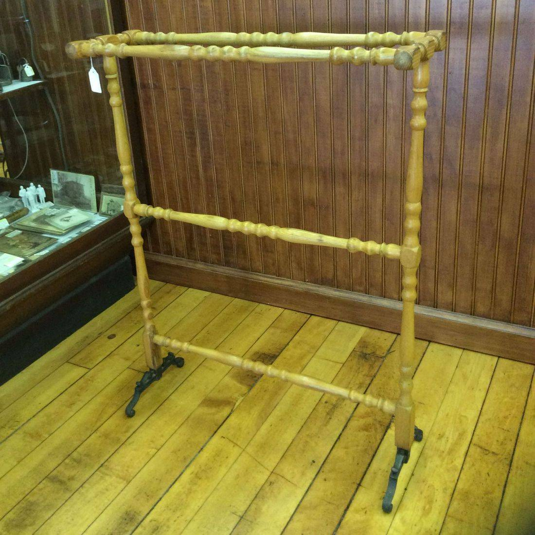 "Vintage Maple Blanket/Towel Stand w/Cast Iron Feet  22-1/2""W x 8""D x 30""H.  $65.00"