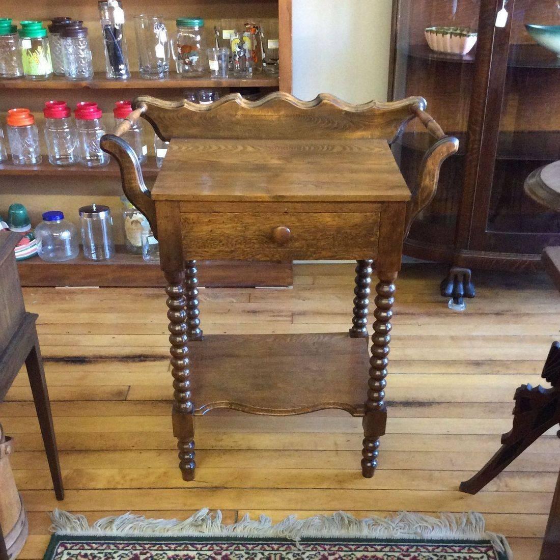 Late 1800's Jenny Lind Oak 1-Drawer Washstand w/Shelf and Towel Bars   $175.00