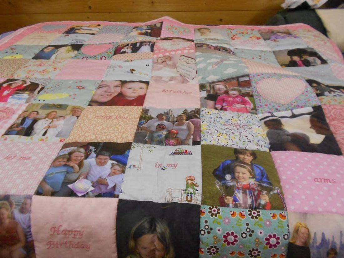 Girls photograph memory quilt