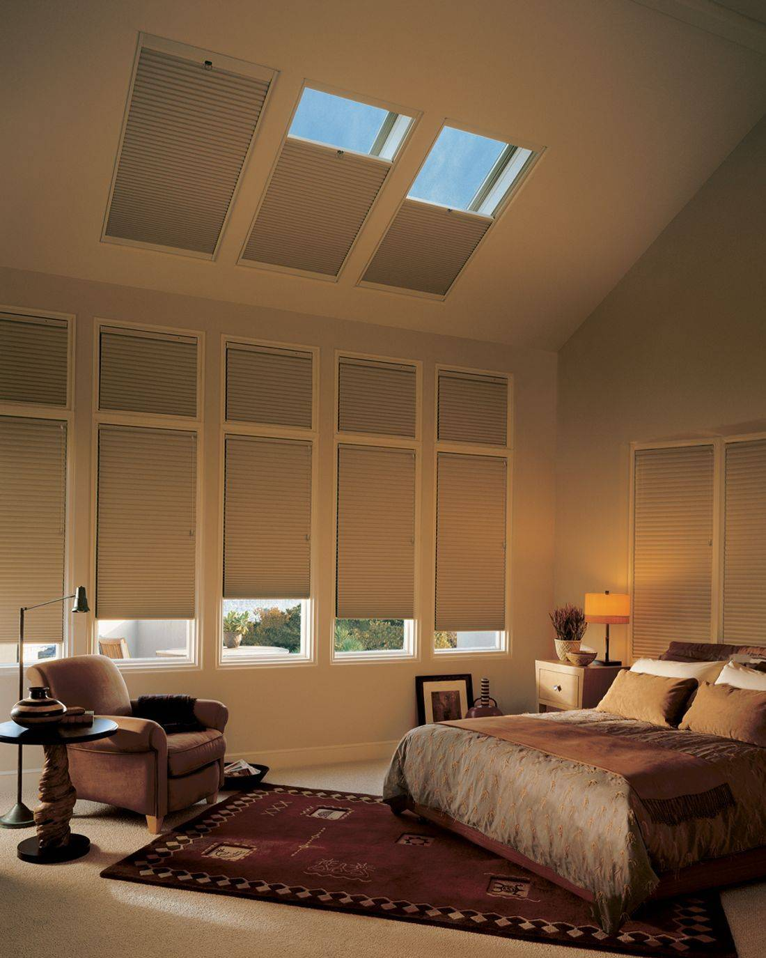 Hunter Douglas Architella Duette shades feature honeycomb-within-a-honeycomb construction for added energy savings. These are ideal shades for motorization in a skylight.
